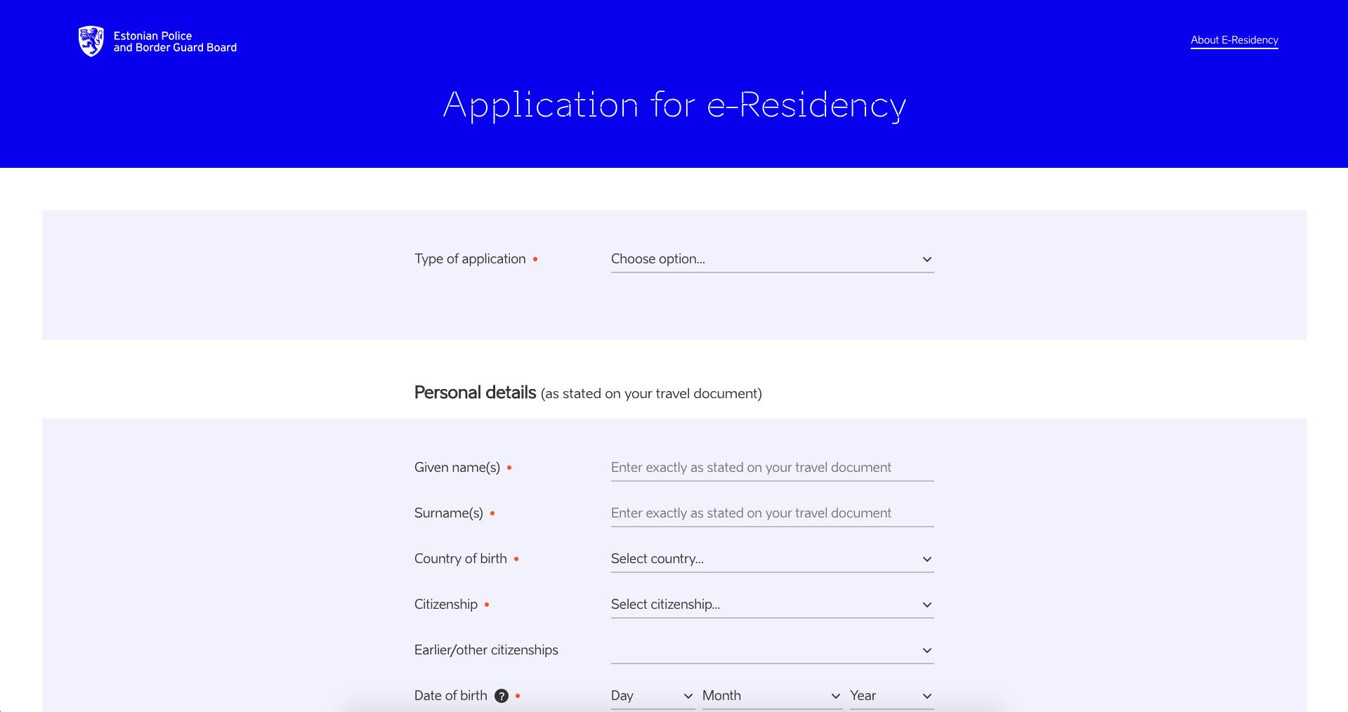 e-Residency form